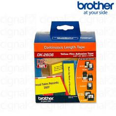 Cinta continua plastica Brother DK-2606 Negro/Amarillo 6.2cm